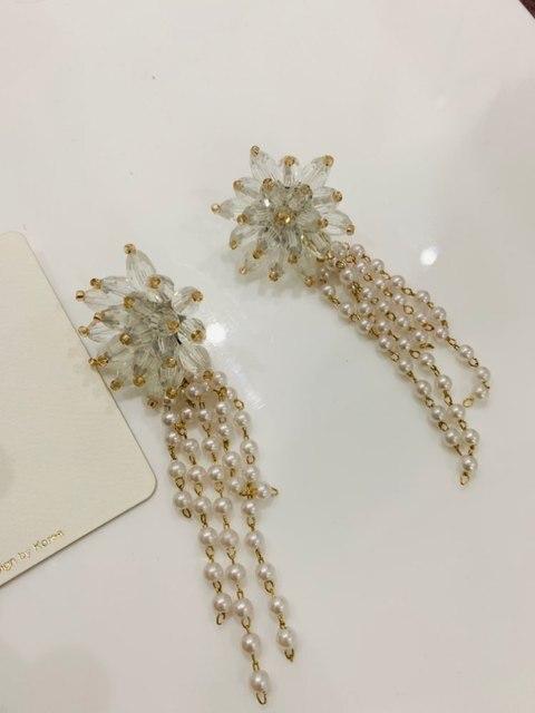 AOMU 2018 nouvelle mode corée grand Transparent cristal fleurs perles longues gland boucles doreilles pour femmes fille bijoux accessoires