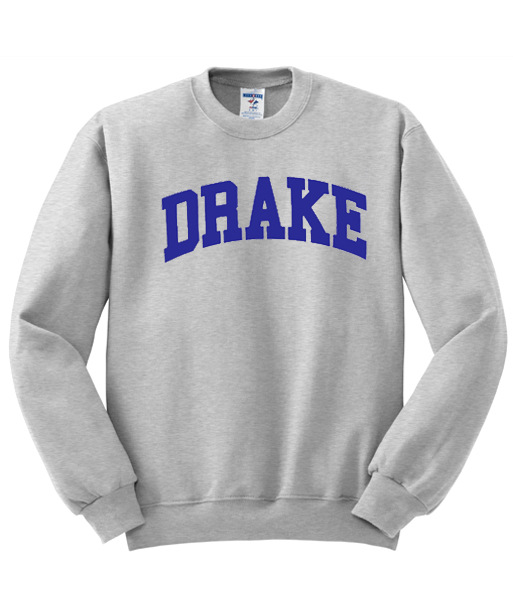 Drake round Neck Sweater Grey Top Street Hip Hop Punk Style Men's Men And Women Celebrity Style Couples Best Friend-Sporty image