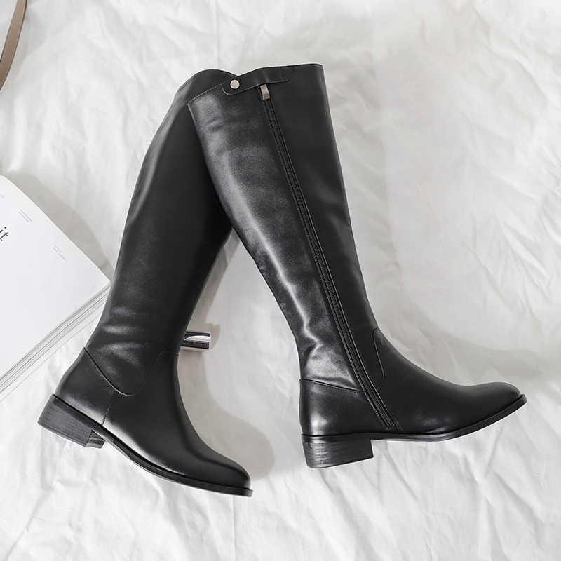 Femmes en cuir véritable chaussures plates genou bottes latérales zippées femme punk chevalier bottes noir mince hiver chaud femme confortable chaussures