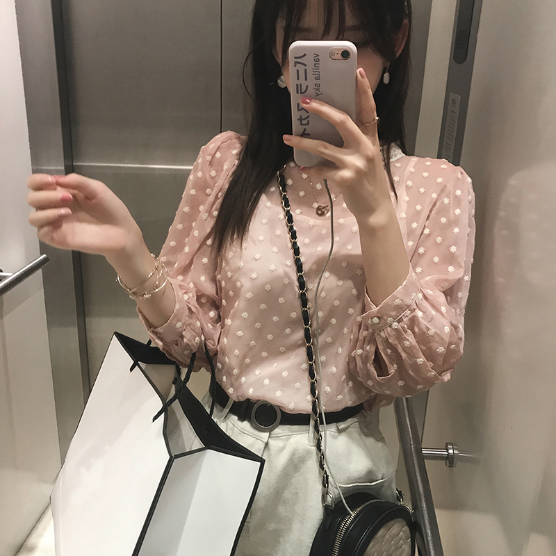 Mishow 2019 Women Lolita Chiffon Blouse Female Two Pieces Tops Casual Long Sleeve Blouse Shirt MX19A4849
