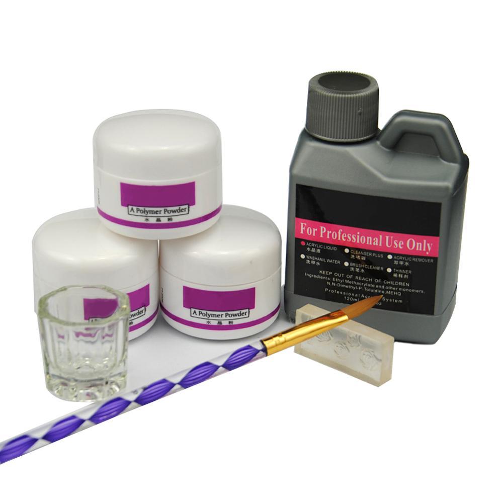 7 pçs/set Pó Acrílico Kit de Unhas de Acrílico Cristal Prego Polímero Acrílico Para Unhas Conjunto Para Manicure Necessidade Lâmpada UV Da Arte Do Prego Escova