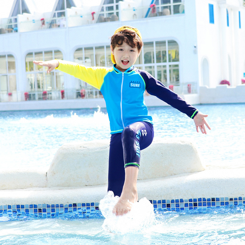 2019 New Style Hot Sales KID'S Swimwear Europe And America Split Type Long Sleeve Trousers Stand Collar Sun-resistant Beach Hot