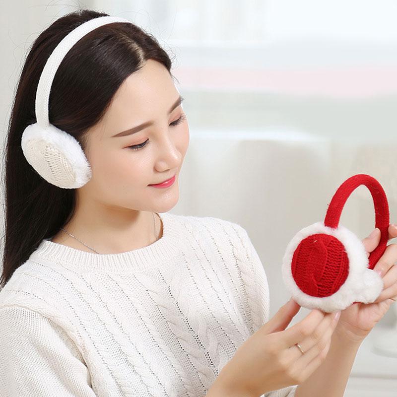 New Women Winter Crochet Knitted Earmuffs Plush Soft Ear Warmer Earflap Ear Cover Vintage Fashion Women Earmuffs High Quality