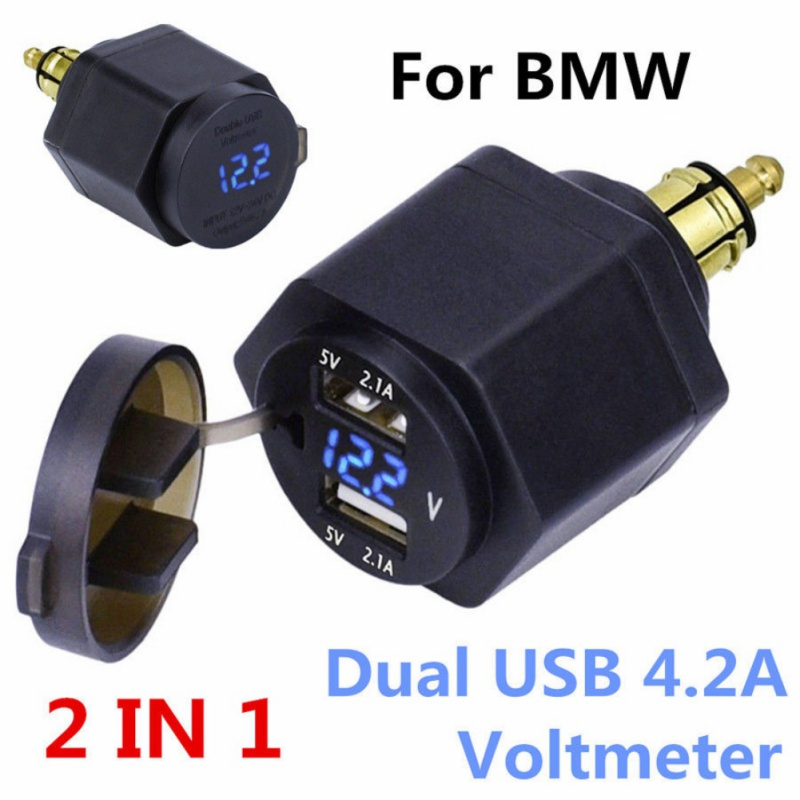 US $8.18 23% OFF|Waterproof Dual USB Charger Power Adapter LED Voltmeter DIN Plug Socket For BMW Triumph Hella Motorcycle|Cables, Adapters & Sockets|