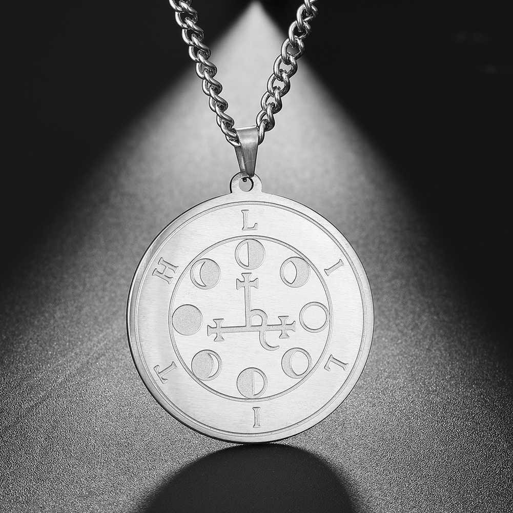 Dawapara Lilith Seal noc i księżyc Demon bogini salomon magia wisiorek kabała Amulet mężczyźni naszyjnik biżuteria ze stali nierdzewnej