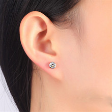 fashion Simple Round Inlaid Zircon Stud Earrings  S925 Silver Trend Classic Ear Jewelry Gift