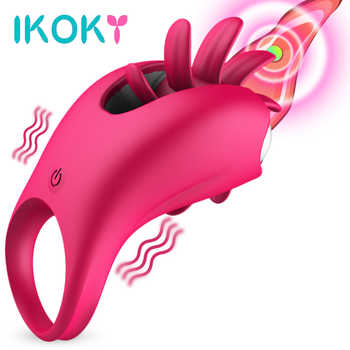 IKOKY Rotation Oral Tongue Licking Vibrator Vagina Massager Clitoris Stimulate Sex Toys for Couples Flirt Penis Vibrating Ring - DISCOUNT ITEM  25 OFF Beauty & Health