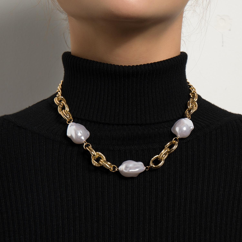 KMVEXO minimaliste Baroque irrégulière perle collier ras du cou pour les femmes Patchwork cubains chaînes colliers 2021 mode collier bijoux