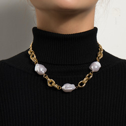 KMVEXO Minimalist Baroque Irregular Pearl Choker Necklace For Women Patchwork Cuban Chains Necklaces 2021 Fashion Collar Jewelry