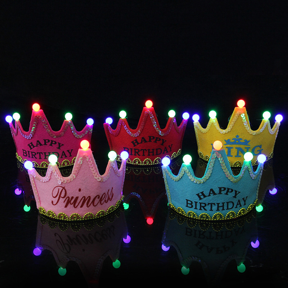 LED Light Up Birthday Hat Princess King Happy Birthday Crown Cap Headband Christmas Party Decor Headband Without Battery