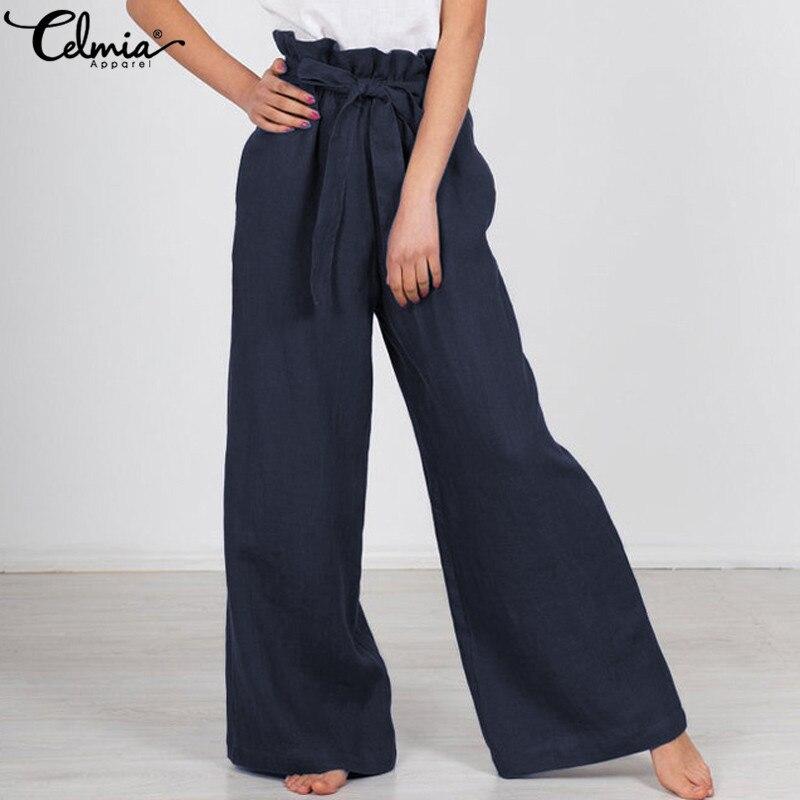 2019 Plus Size Celmia Women High Waist Long   Pant   Solid Palazzo Female   Wide     Leg     Pants   Vintage Linen Trouser Casual Loose Pantalon