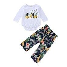 Новая одежда для малышей, комплект из 2 предметов, комбинезон для мальчиков и девочек+ штаны, штаны с длинными рукавами и цветочным принтом