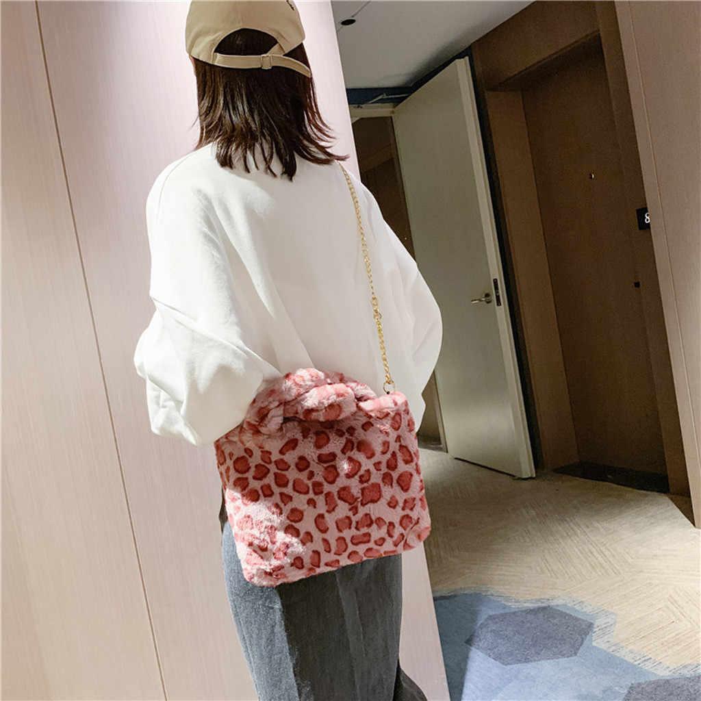 女性の豪華なハンドバッグソフトフェイクファーヒョウ柄ゼブラパターンの女性のバッグ韓国の女性パーティーカジュアル動物ショルダーバッグ