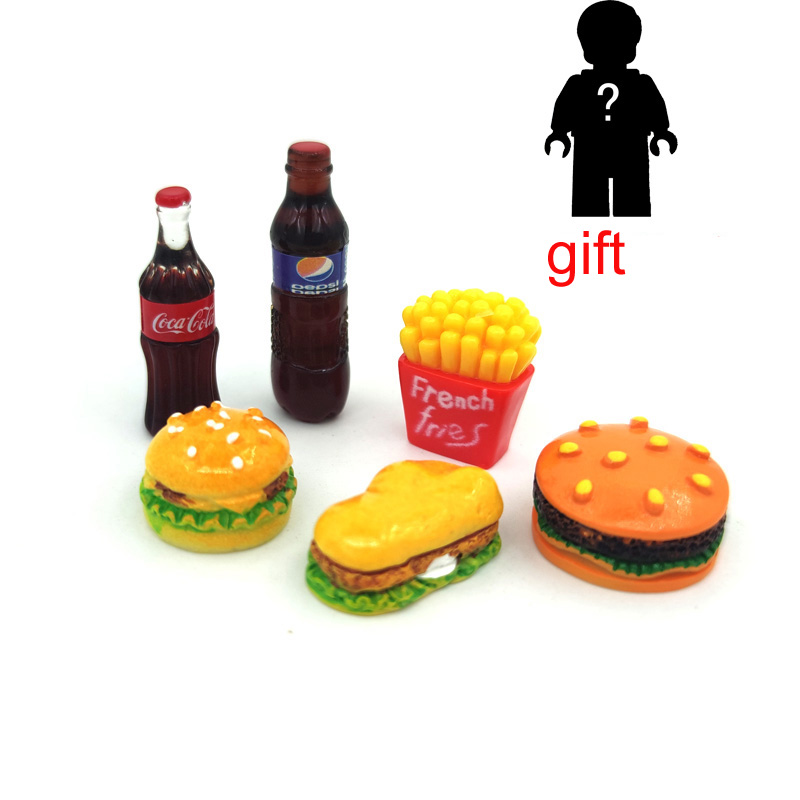 Dollhouse Miniature Hamburger French Fries Model Mini Food Doll Fit Toy Accessories Pretend Play Toy  Gift