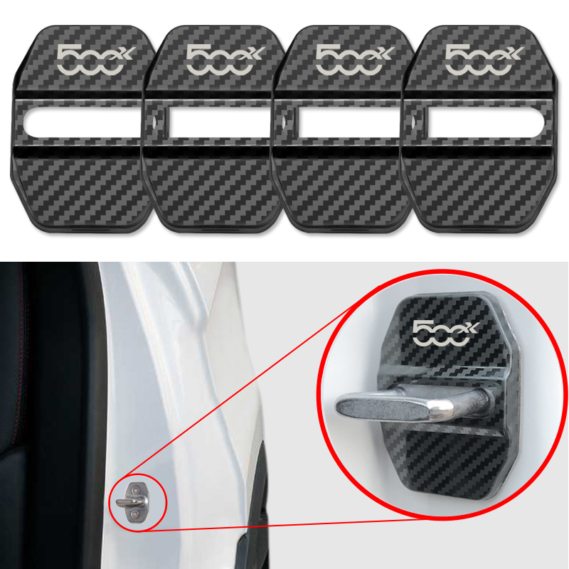 4pcs New Auto Car Carbon Fiber Pattern Door Lock Cover Case For Fiat 500X Car Accessories