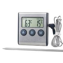 Digital cozinha termômetro display lcd sonda longa para grill forno alimentos carne cozinhar alarme temporizador ferramentas de medição