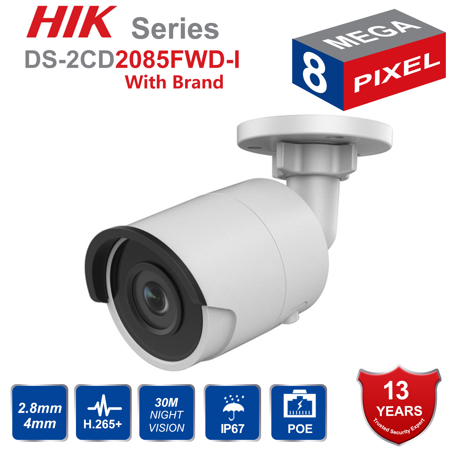 Hik Original 8MP CCTV Camera Updateable DS-2CD2085FWD-I IP Camera High Resoultion WDR POE Bullet CCTV Camera With SD Card Slot