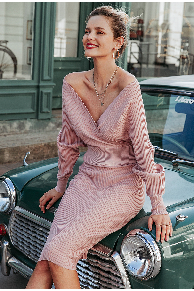 Simplee Sexy v-neck women knitted skirt suits Autumn winter batwing sleeve ladies suit Elegant party female sweater pink dress 5