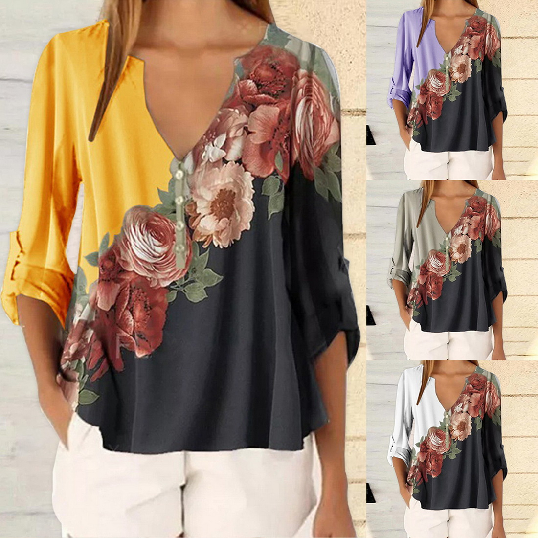 Womens Sexy Tops 3/4 Bell Sleeve V Neck Floral Print Loose Tops Shirt Blouses