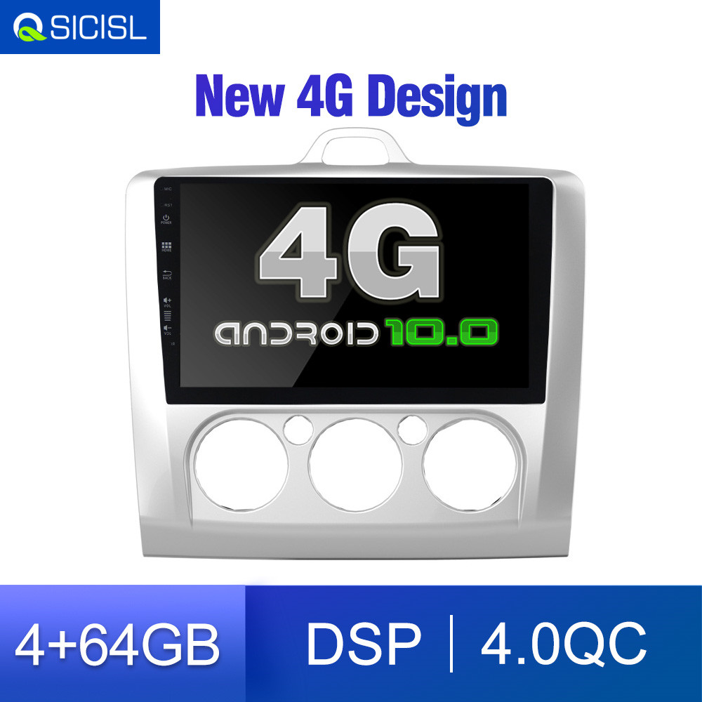 64GB 4G SIM Android <font><b>10</b></font> Car Radio Multimedia for ford focus EXI MT 2 3 Mk2 2004 2005 2006 2007 2008 2009 2010 2011 GPS Navi DVD image