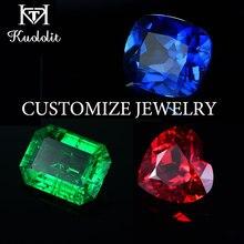 Kuololit-anillo joya de oro de moissanita personalizable, joyería de laboratorio, rubí, Esmeralda, zafiro, diamante, joya de oro sólido y pendientes, collar de compromiso