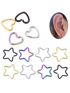 Piercing Silver Jewelry Tragus Helix Cartilage Studs Hoop Daith-Ear Heart/star-Shaped