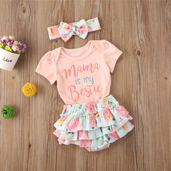 2020 Summer Toddler Infant Baby Girls Cotton Casual Outfits Set Letter Bodysuit+Floral Shorts+Headband Cute Baby Clothes 0-24M