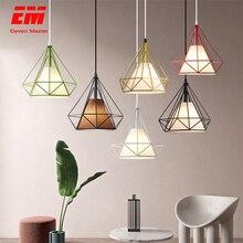Lámpara colgante de jaula de pájaros de hierro, minimalista, retro, piso de estilo escandinavo, dije de pirámide, jaula de metal con E27 ZDD0001