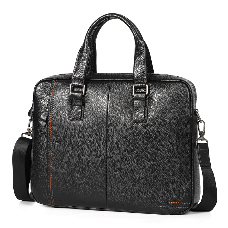 Nesitu Coffee Blue Black Genuine Leather  14'' Laptop Men Briefcase Handbag Messenger Bags Portfolio Business Office Bag M255605