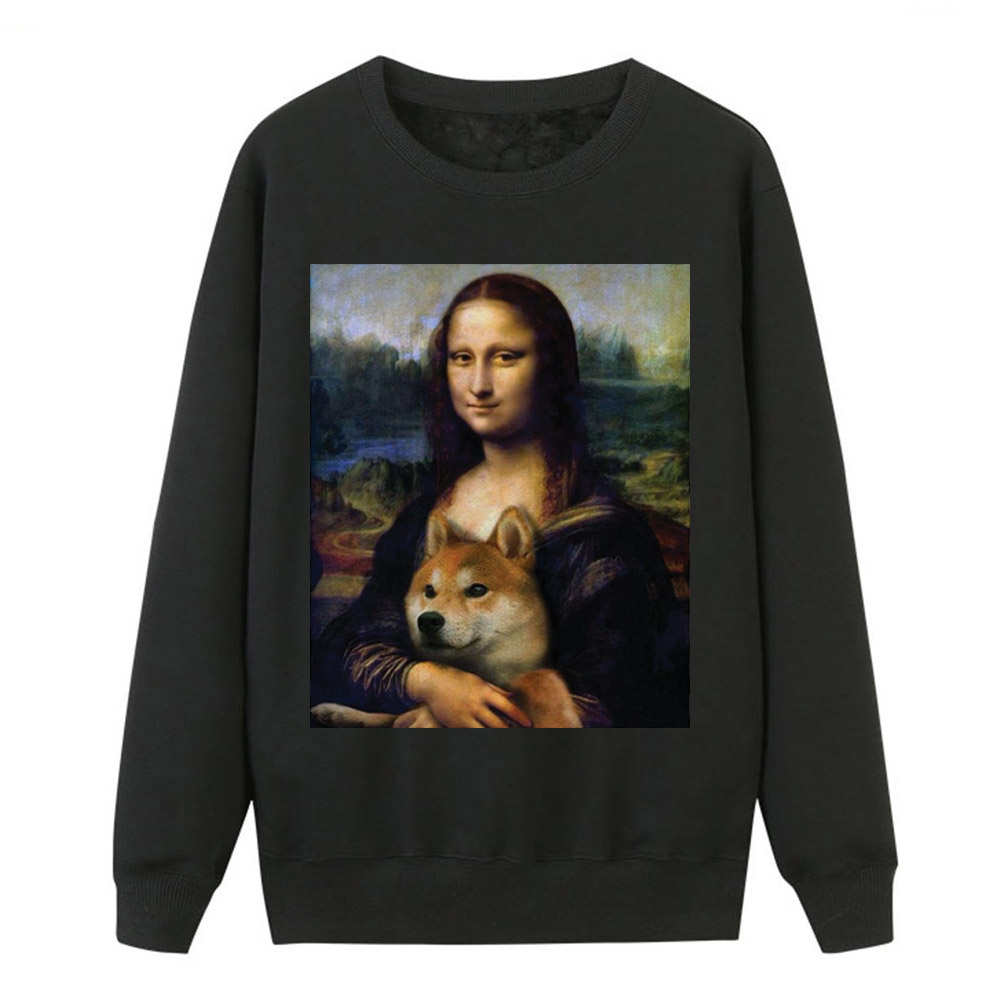 2019 Autumn Winter Hoodies Women Mona Lisa Shiba Inu Doge Tracksuit Fashion Women Fleece Casual Warm Animal Hip Hop Sweatshirts