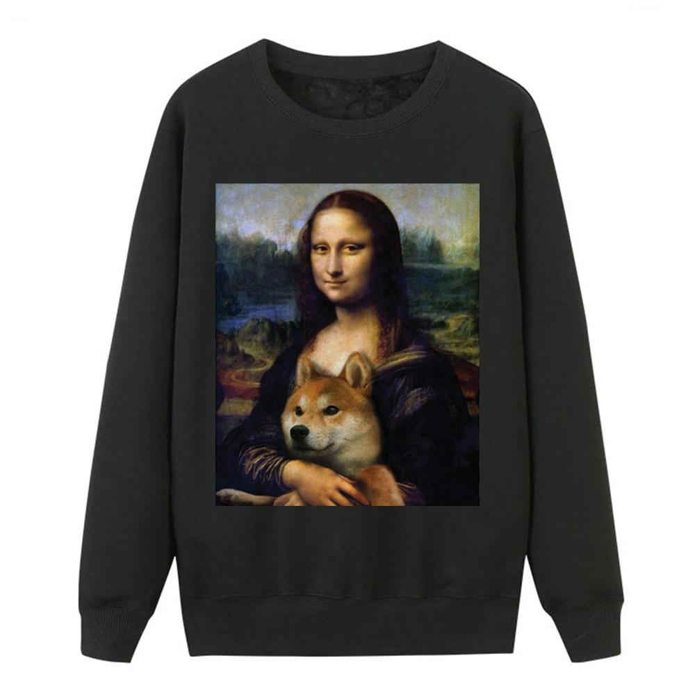 2019 Autumn Winter Hoodies Women Mona Lisa Shiba Inu Doge Tracksuit Fashion Women Fleece Casual Warm Animal Hip Hop Sweatshirts