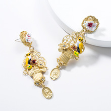 2019 Luxury Bohemia Animal Brid Zinc Alloy Dripping Oil Gold Color Birdcage Shape Drop Dangle Long Earrings For Women Jewelry