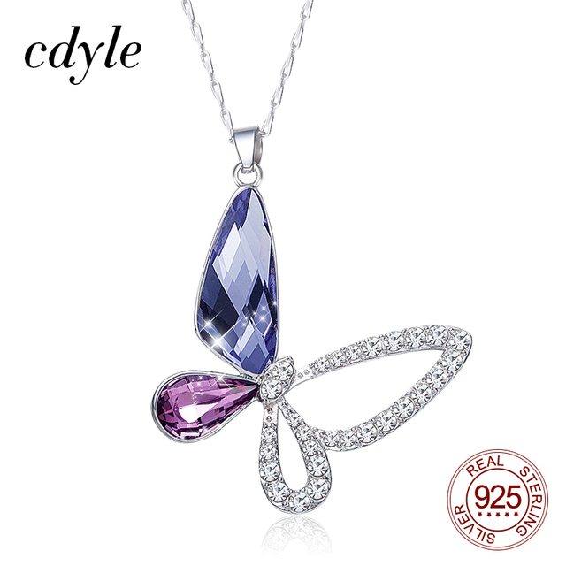 Cdyle 925 Sterling Silver Women Necklace Purple Crystal Butterfly Pendant with Zircon Fashion Fine Jewellery Accessories