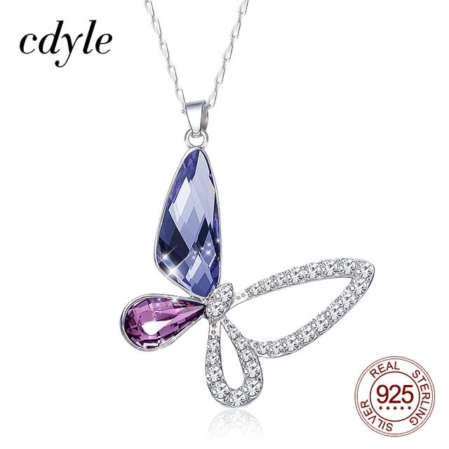 Cdyle collar de plata de ley 925 con colgante de mariposa y circón, joyería fina, Cristal púrpura