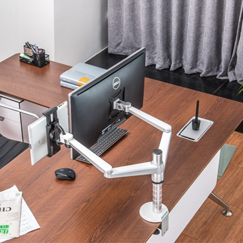 OA-8Z 360 Rotate Aluminum 9inch 10inch 27inch Dual Arm Monitor Table Bracket 9-10 Inch Single Pad Desktop Mount Laptop Stand