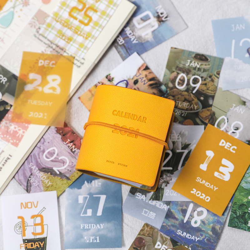 Yoofun 457sheets 2021 Calendar Cute PU Cover Mini Calendar for Scrapbooking Bullet Journaling DIY Office School Supplies 3