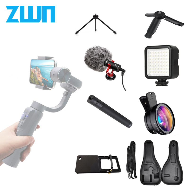 ZWN Gimbal LED Lamp Microphone Tripod Stents Action Camera Plate Phone Lens Extension Rod Bag Accessories Package