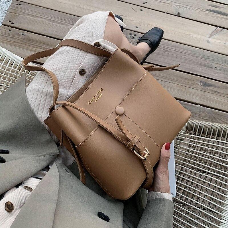 Casaul Buckets Bag For Women Designer Shoulder Bags Luxury Soft Pu Leather Crossbody Bag Large Capacity Totes Ladies Big Purses