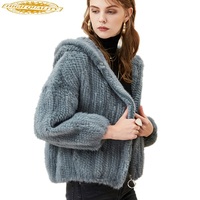 Real Mink Fur Coat Female Knitted Mink Jacket Hooded 2020 Fashion Winter Coats Women Short Natural Fur Jacket A1818
