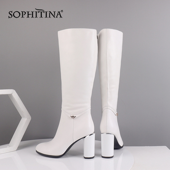 SOPHITINA Winter Women's Boots Cow Leather Knee-High Round Toe Fashion High Round Heels Shoes Metal Decoration Zipper Boots BA7
