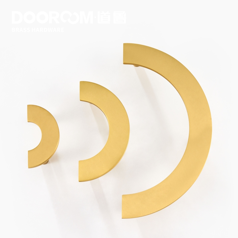 Dooroom Brass Furniture Handles Modern Light Luxury Semi Circle Pulls Wardrobe Dresser Cupboard Cabinet Drawer Wine Bar Knobs