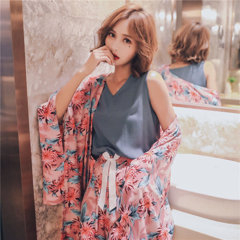 JULY'S SONG 4 Piece Autumn Winter Women Pajamas Sets Floral Printed  Pajamas Set Top And Shorts Female Night Suit  Set