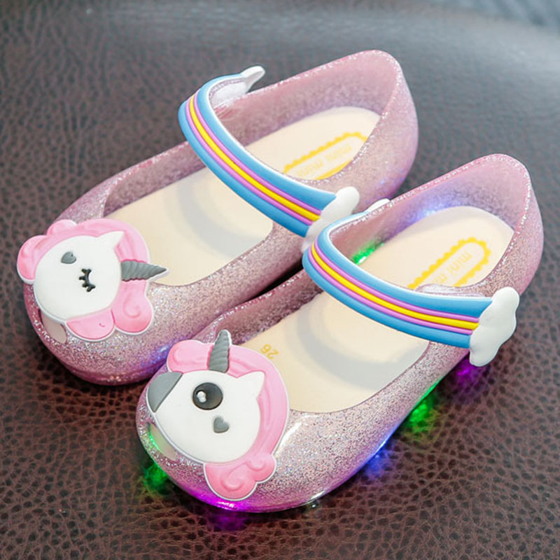 Unicorn Baby Slippers 2019 Swimming Shoes Kids Water Shoes Kids Slipper Cute Girl LED Flashing Light Shoes Jelly Crystal Sandals