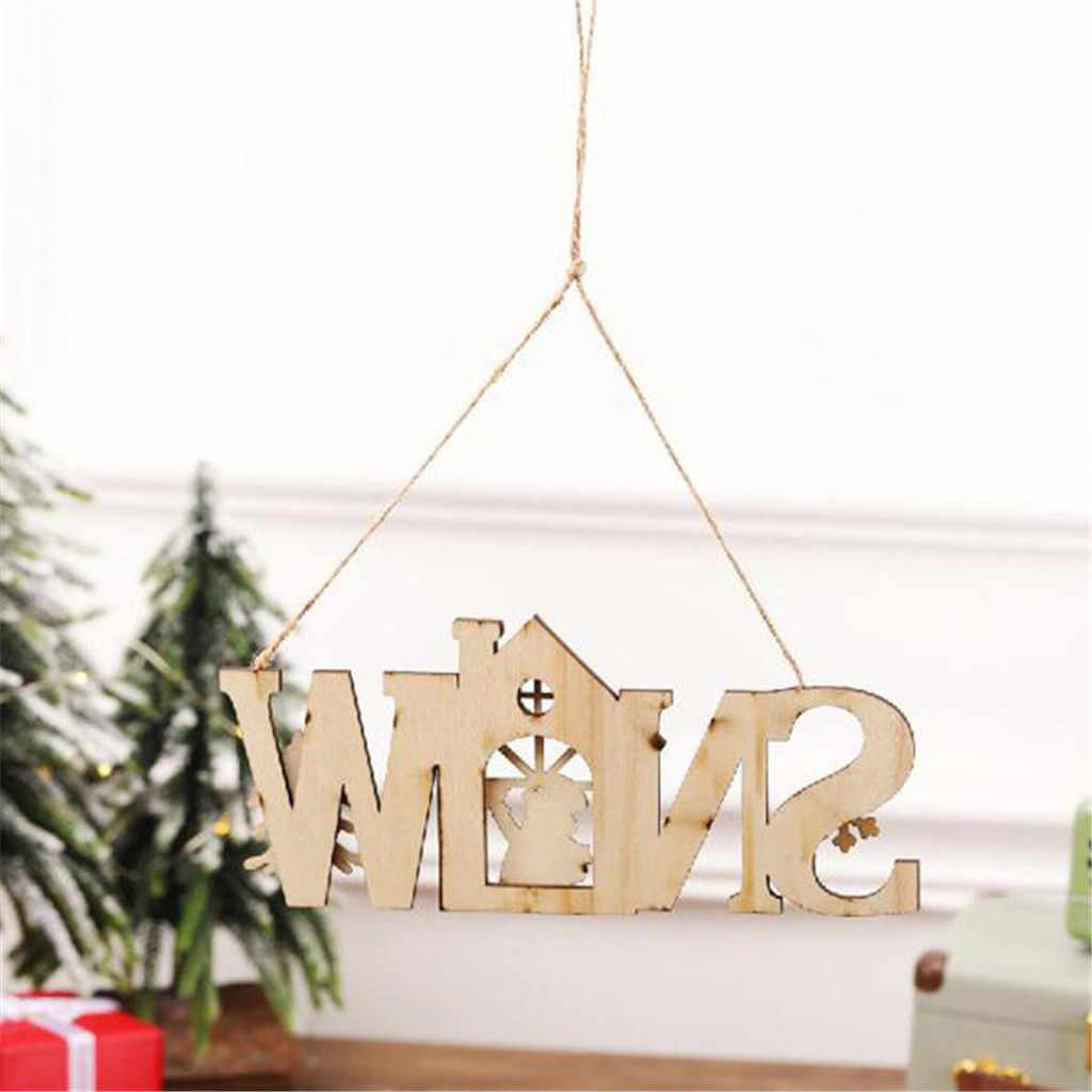 Feliz natal de madeira inglês carta fatia pendurado ornamentos diy artesanato decoração de natal listagem sapin de noel 4fm