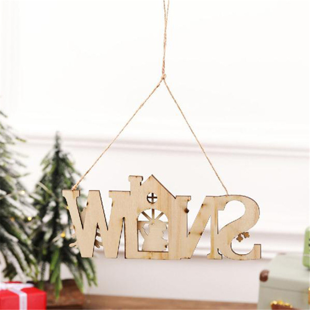 Merry Christmas Wooden English Letter Slice Hanging Ornaments DIY