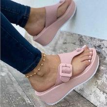 2021 New Casual Clip Toe Flip Flops Women Summer Comfort Buckle Decoration Wedges Sandals Female Platform Outdoor Beach Slippers