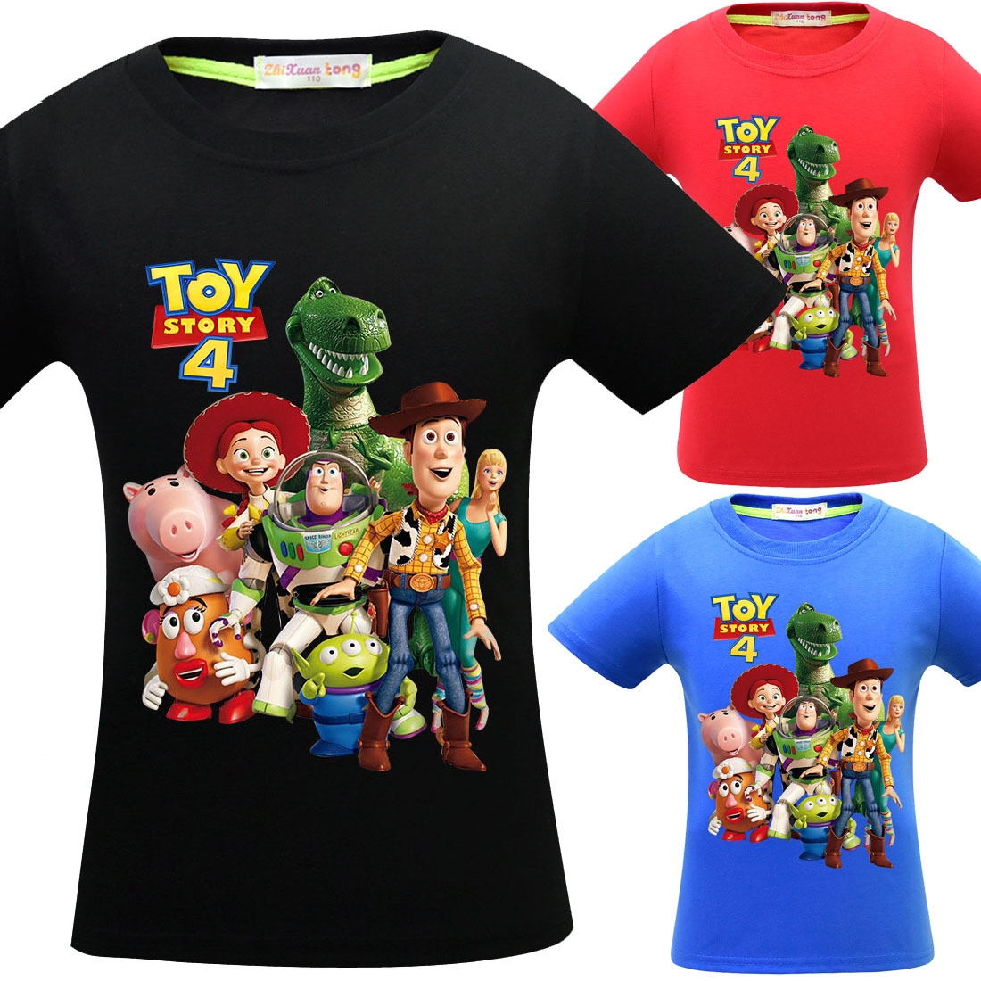 Toy Story Boy t-Shirt Clothing Short-Sleeved 4-12-Years-Old Children's Cotton New Big