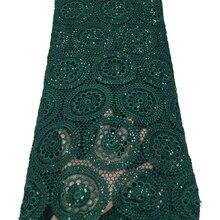 Tissu nigérian en dentelle Guipure pour mariage, cordon africain, paillettes vertes, haute qualité, français Soluble dans l'eau, dernière conception, 2020