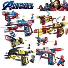 Avengers 4 Spider Man Iron Batman Capital America Gun Block Stark Jet Hydro-man Quinjet Building Bricks Christmas Toys