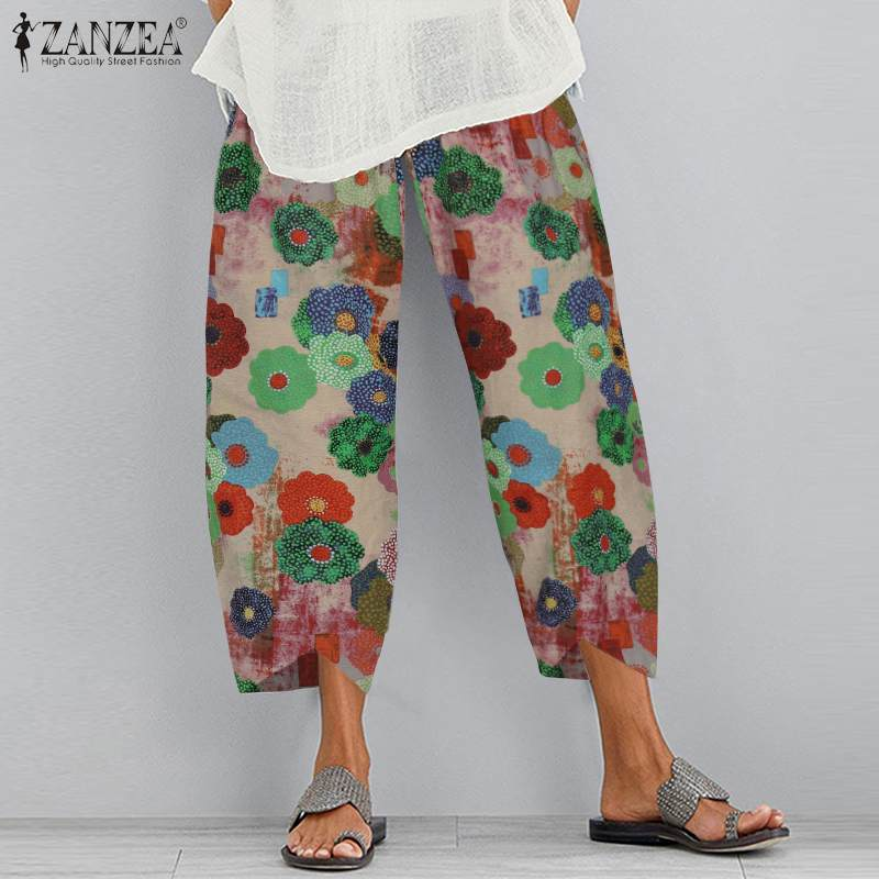 Vintage Women's Harem Pants 2020 ZANZEA Autumn Printed Trousers Casual Elastic Waist Long Pantalon Female Asymmetrical Turnip
